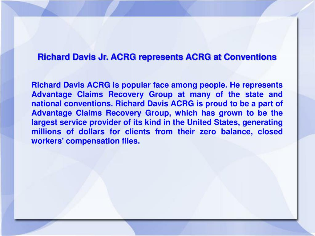 Richard Davis Jr. ACRG represents ACRG at Conventions