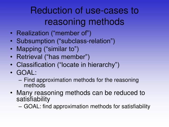 Reduction of use-cases to reasoning methods