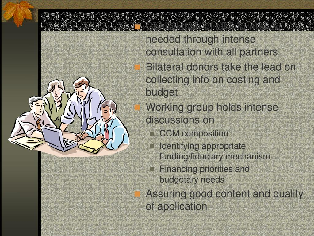 Compilation of all information needed through intense consultation with all partners
