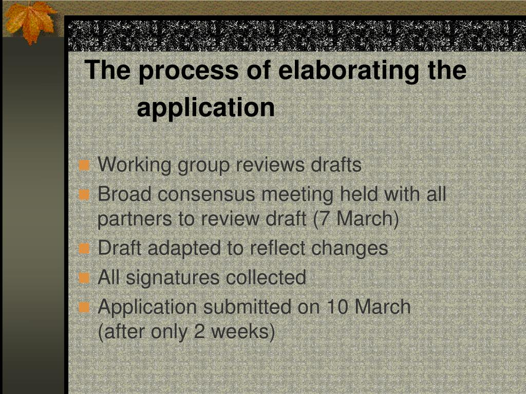 The process of elaborating the application