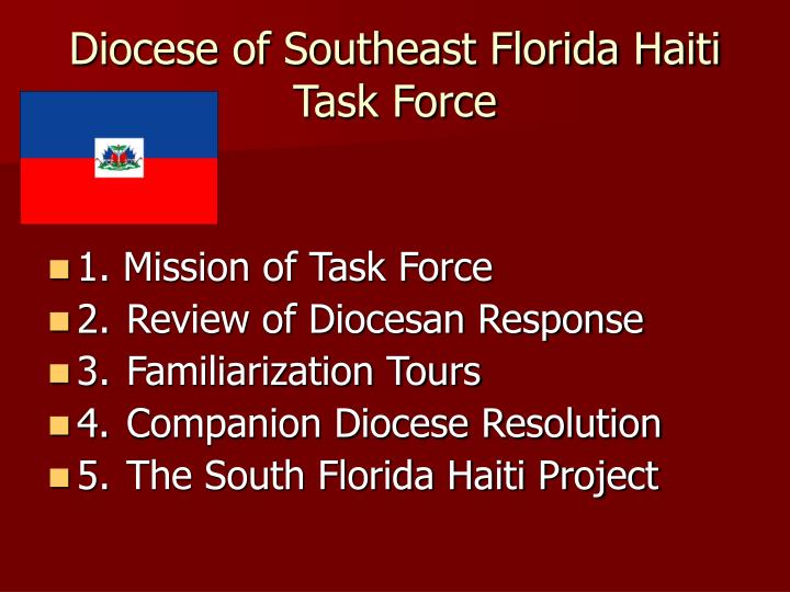 Diocese of southeast florida haiti task force
