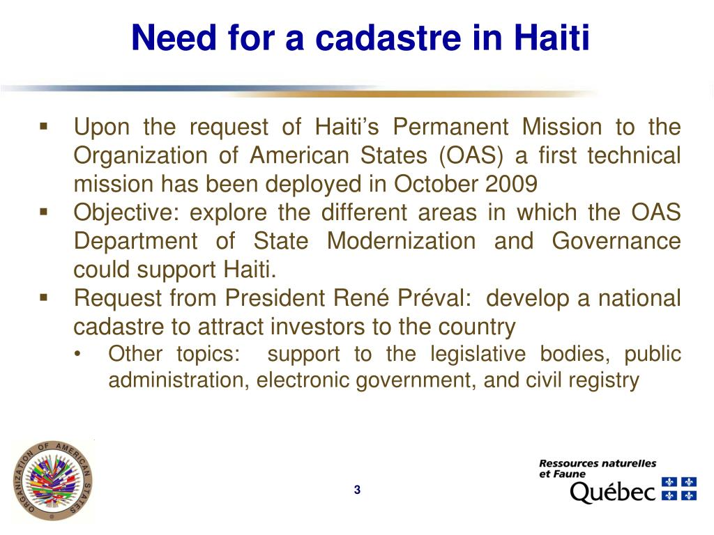 Need for a cadastre in Haiti