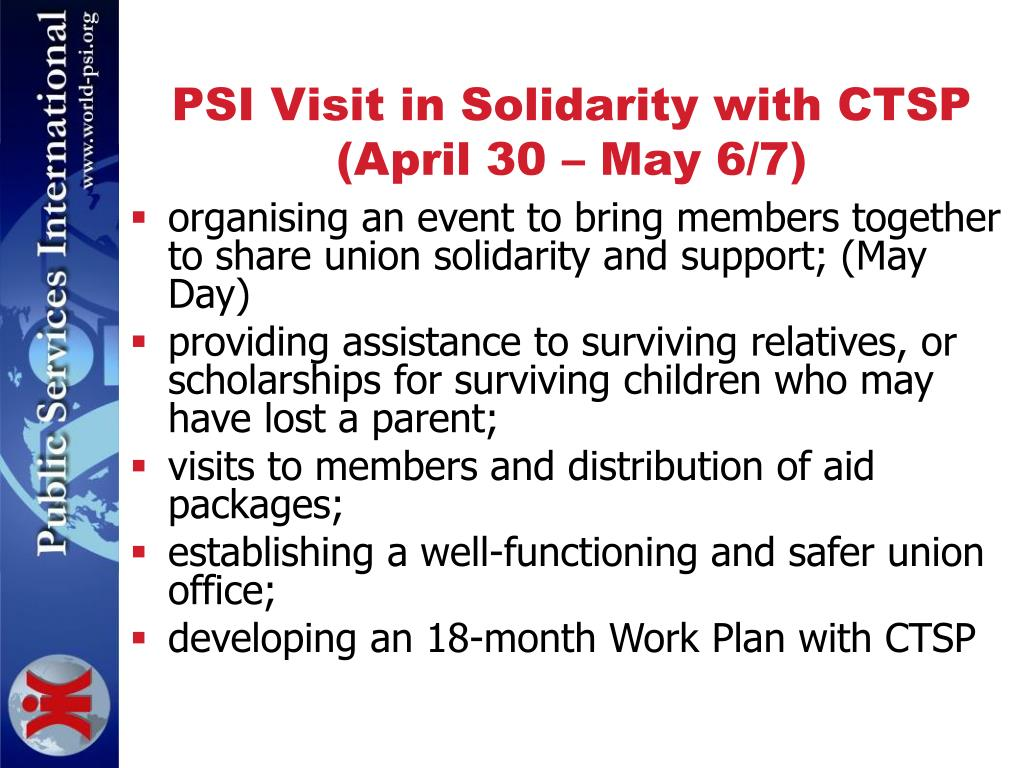 PSI Visit in Solidarity with CTSP