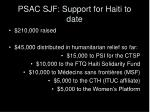 psac sjf support for haiti to date