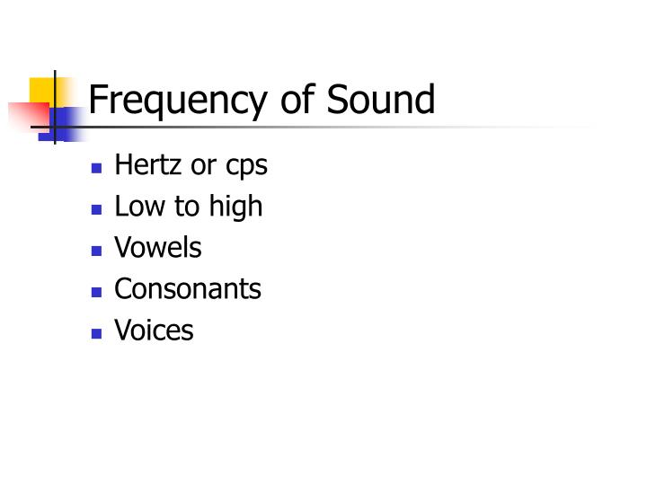 Frequency of Sound