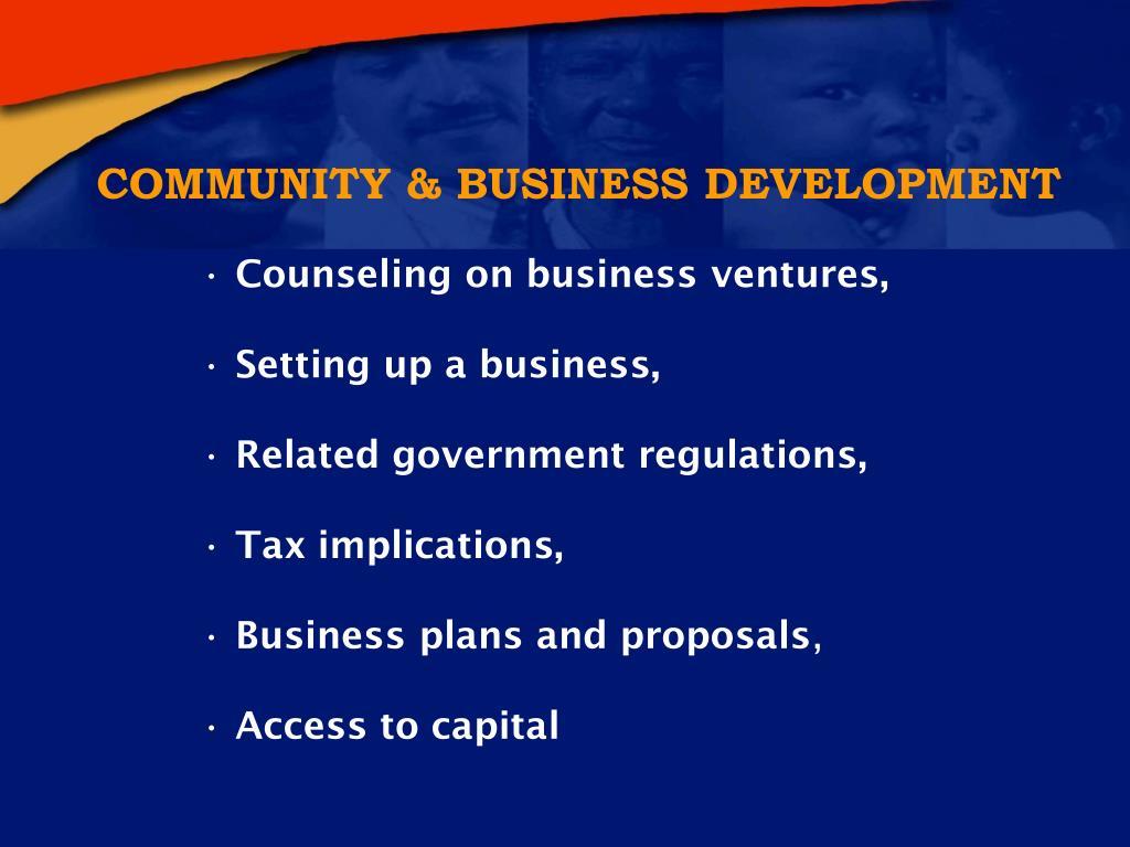 COMMUNITY & BUSINESS DEVELOPMENT