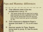 papa and mamma differences