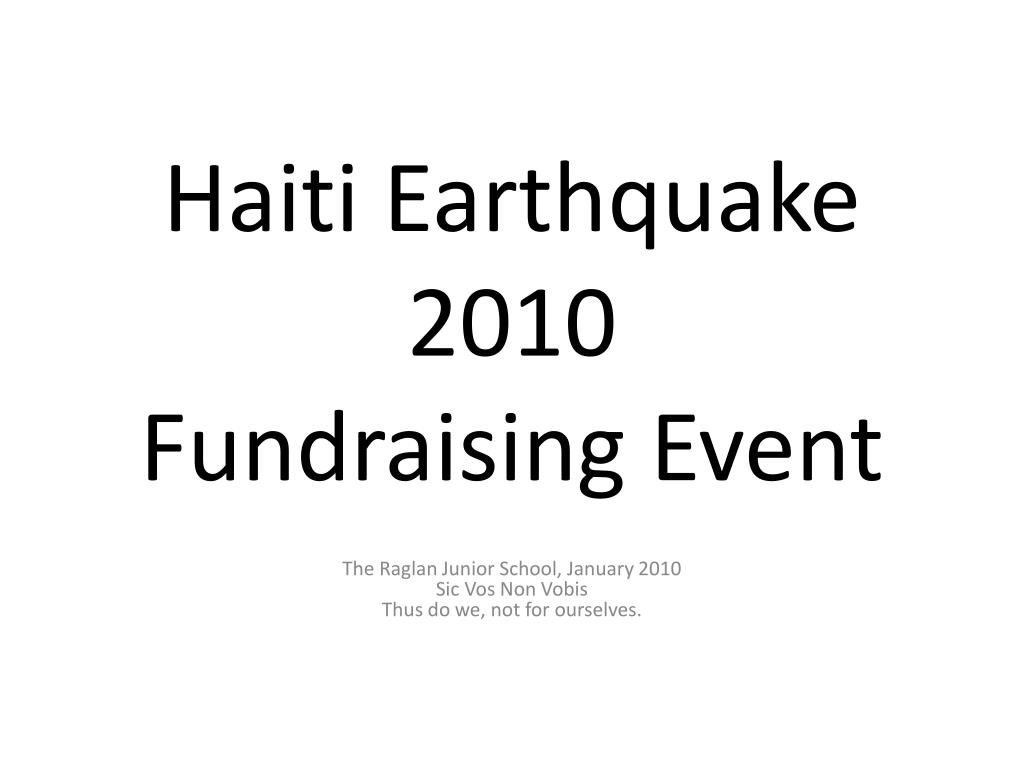 haiti earthquake 2010 fundraising event l.