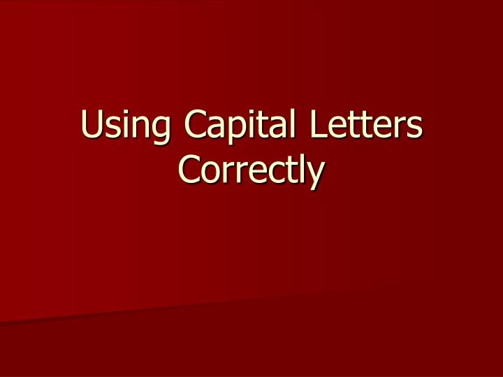 using capital letters correctly n.