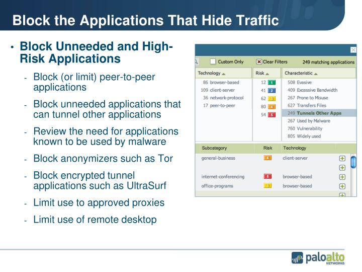 Block the Applications That Hide Traffic