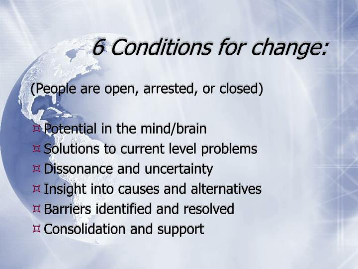 6 Conditions for change: