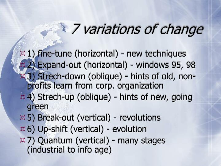 7 variations of change
