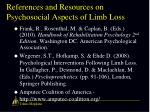 references and resources on psychosocial aspects of limb loss