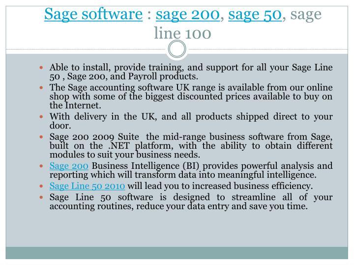 Sage software sage 200 sage 50 sage line 100