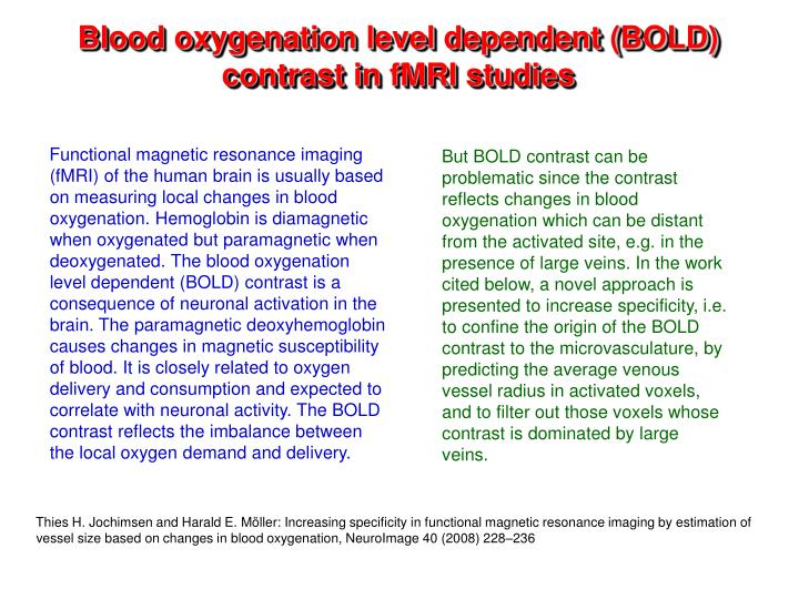 Blood oxygenation level‐dependent (BOLD) contrast magnetic ...