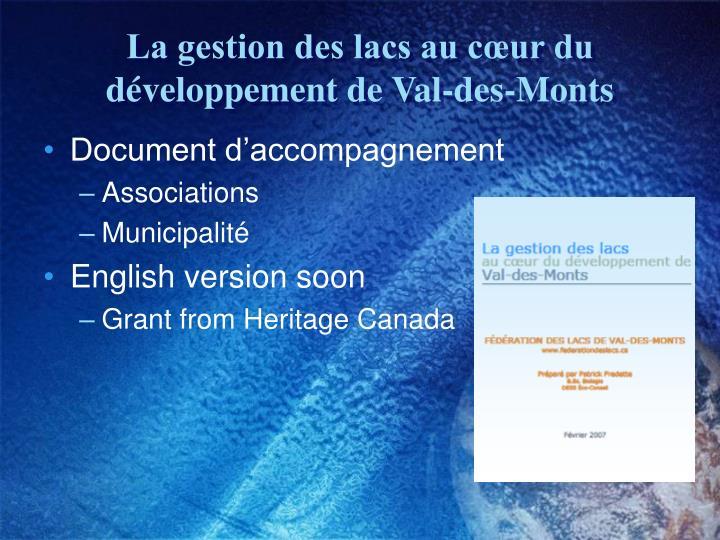 La gestion des lacs au cœur du développement de Val-des-Monts
