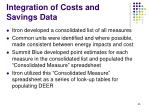 integration of costs and savings data