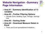 website navigation summary page information