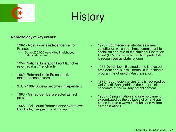 A chronology of key events: