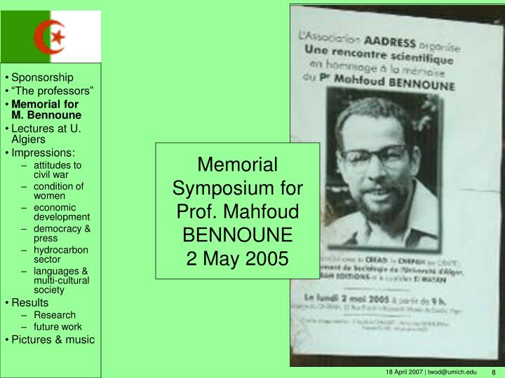 Memorial Symposium for Prof. Mahfoud BENNOUNE