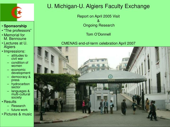 U. Michigan-U. Algiers Faculty Exchange