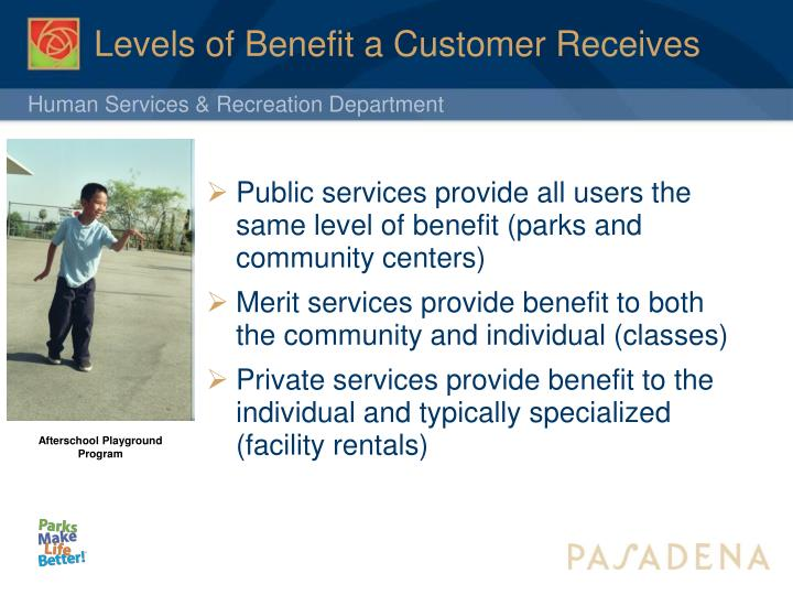 Levels of Benefit a Customer Receives