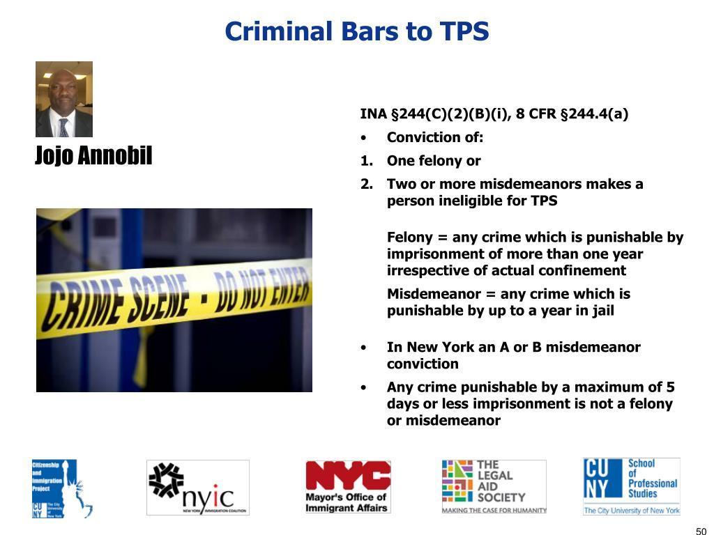 Criminal Bars to TPS