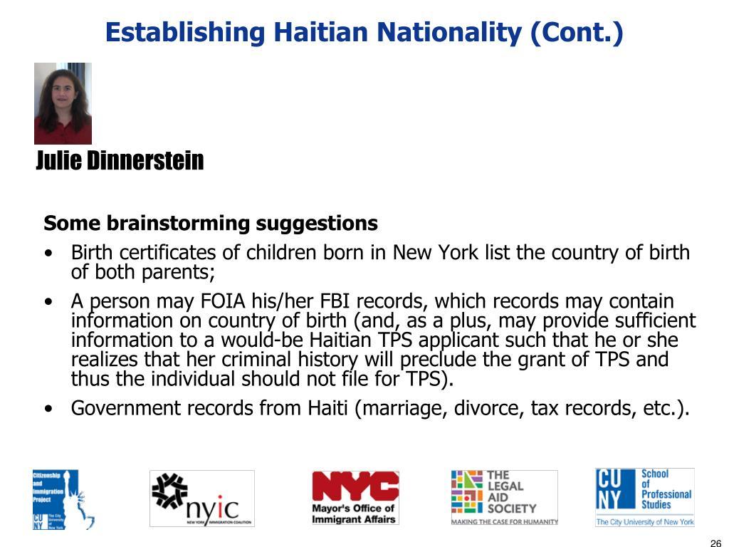Establishing Haitian Nationality (Cont.)