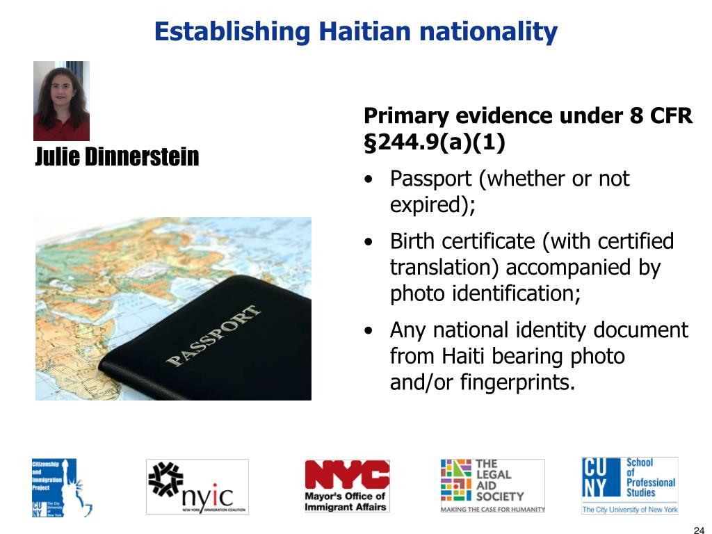 Establishing Haitian nationality