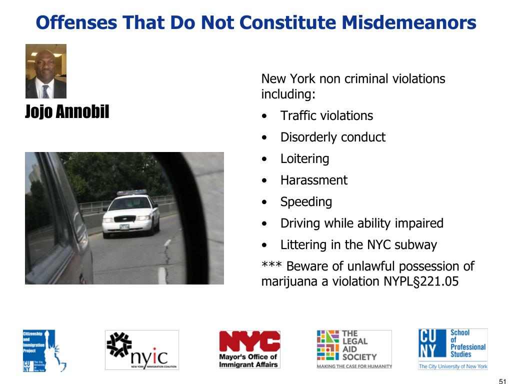 Offenses That Do Not Constitute Misdemeanors