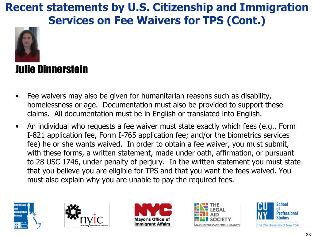Recent statements by U.S. Citizenship and Immigration Services on Fee Waivers for TPS (Cont.)
