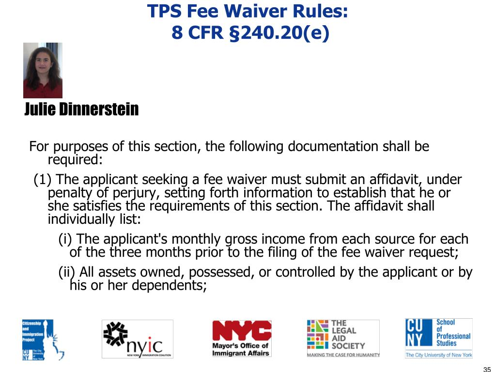 TPS Fee Waiver Rules: