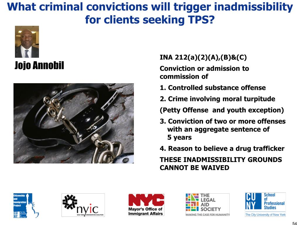 What criminal convictions will trigger inadmissibility for clients seeking TPS?