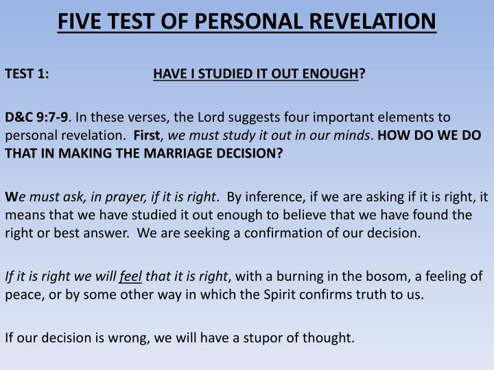 FIVE TEST OF PERSONAL REVELATION