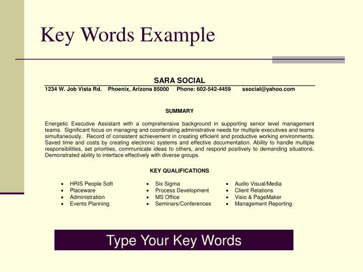 Key Words Example