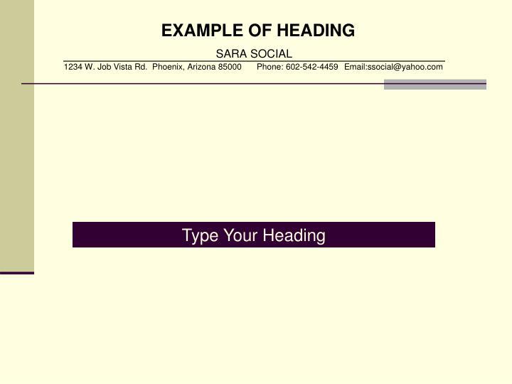 EXAMPLE OF HEADING