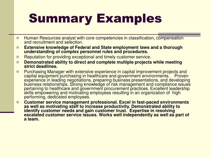 Summary Examples