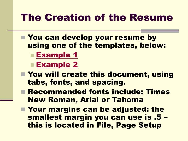 The creation of the resume
