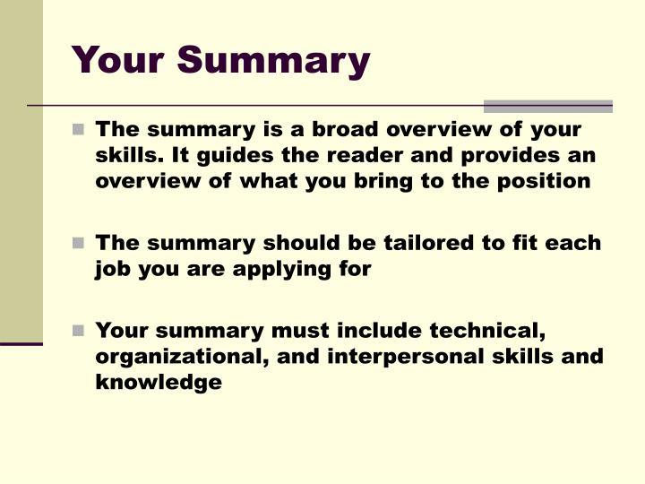 Your Summary