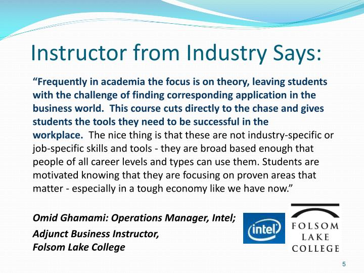 Instructor from Industry Says: