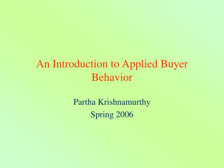 an introduction to applied buyer behavior n.