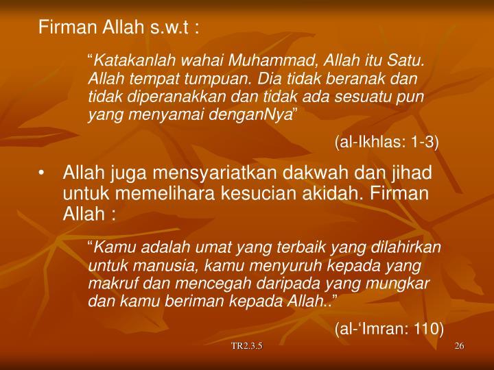 Firman Allah s.w.t :