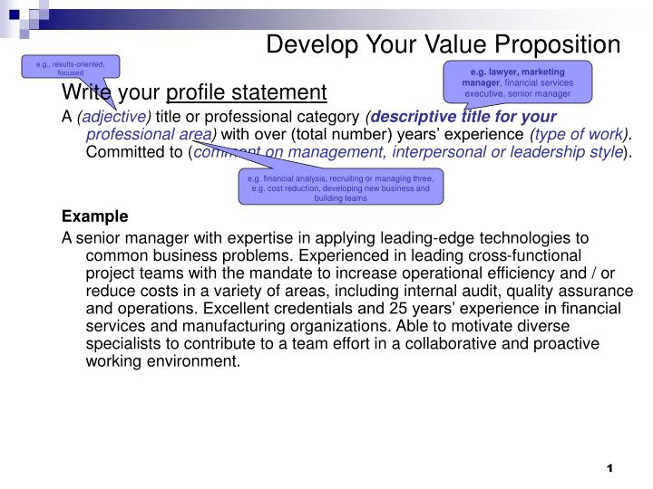 develop your value proposition n.