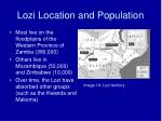 lozi location and population