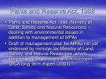 parks and reserve act 1988