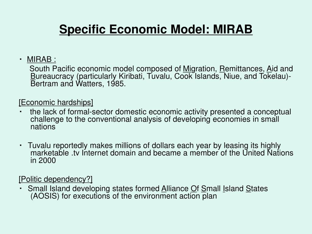 Specific Economic Model: MIRAB