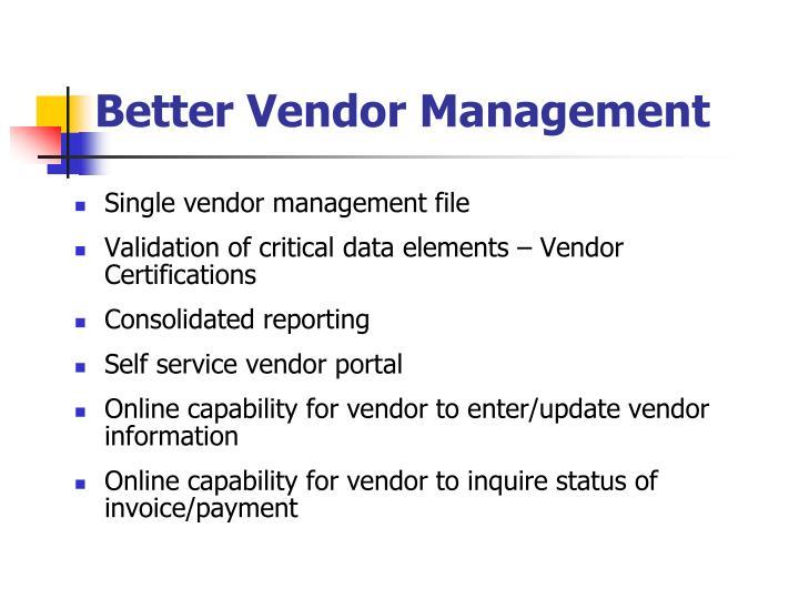 Better Vendor Management