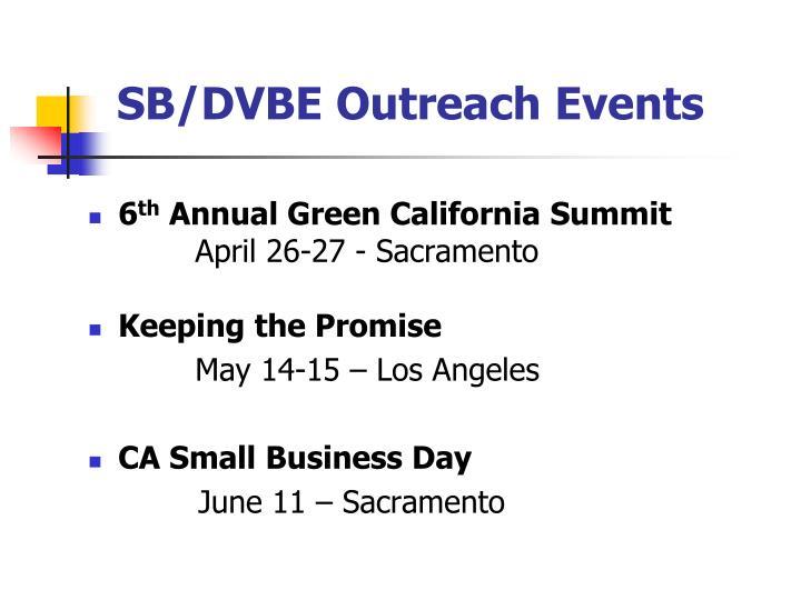 SB/DVBE Outreach Events