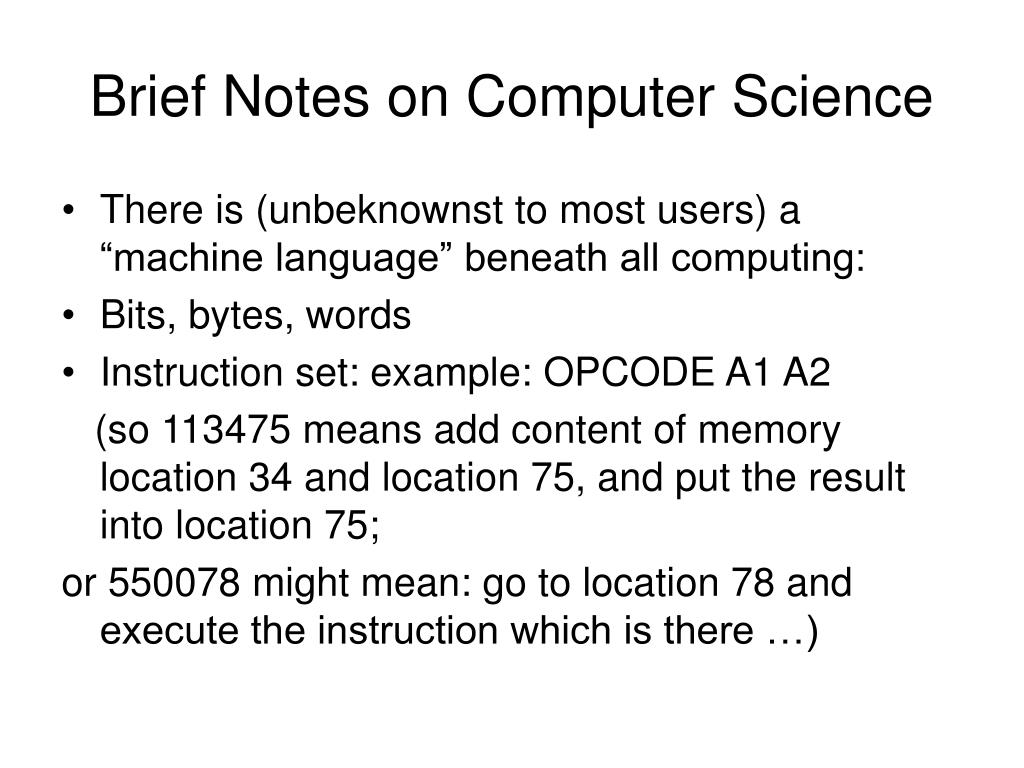 Brief Notes on Computer Science