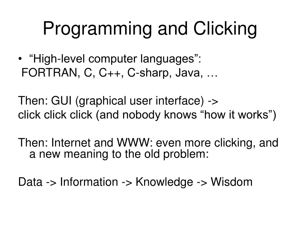 Programming and Clicking